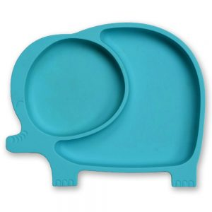 Blue toddler plate with suction